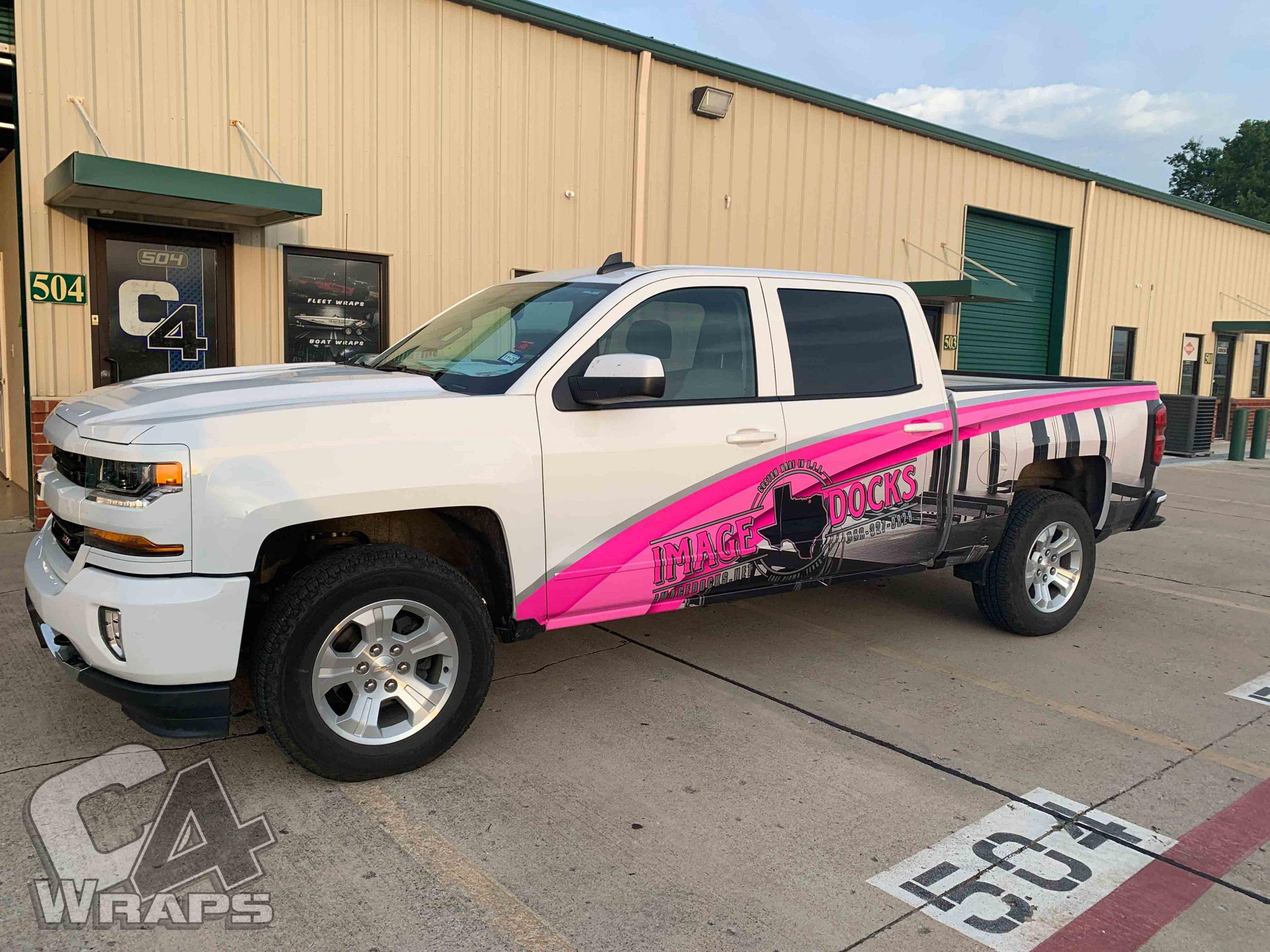 Chevy Silverado Pink Truck Wrap